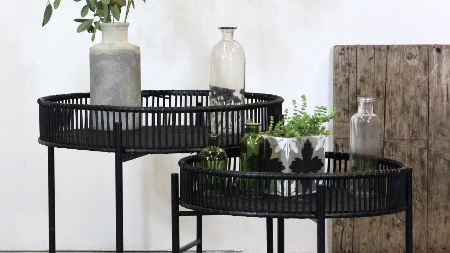 Lot de 2 tables d'appoint en rotin noir - Collection Batanga - Red Cartel