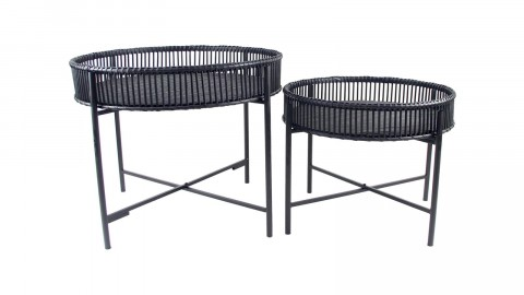 Lot de 2 tables d'appoint en rotin noir - Collection Batanga - Red Cartel