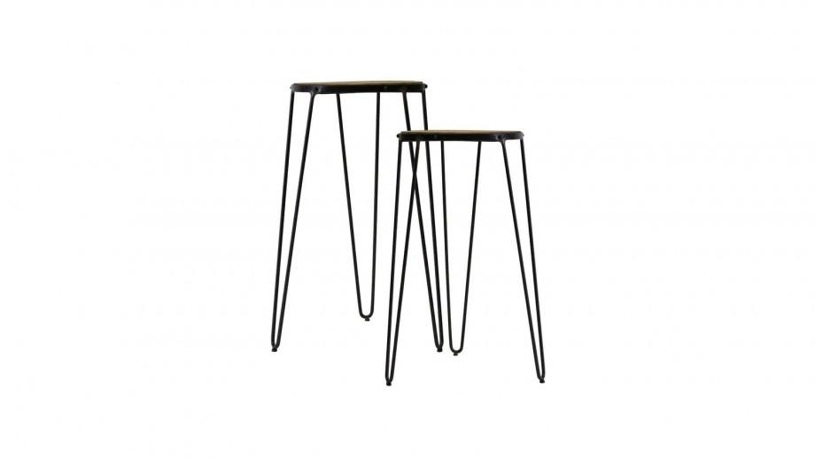 Lot de 2 tables d'appoint en bois d'orme et métal - Collection Gatsby - Red Cartel