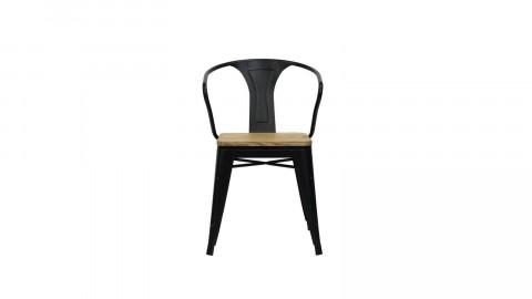 Lot de 2 chaises avec accoudoirs en acier et bois de pin noir mat - Collection Split - Red Cartel