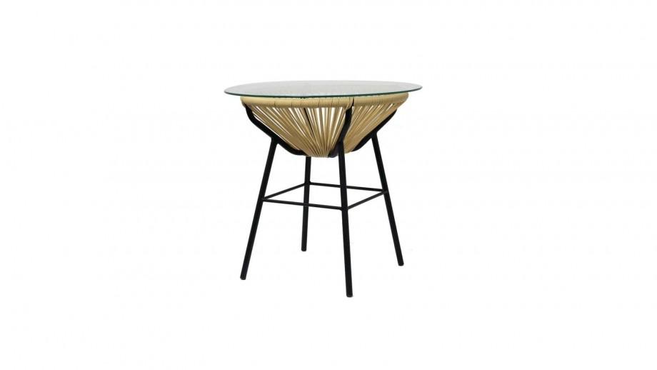 Table en pvc tressé, verre et métal beige - Collection Sumatra - Red Cartel