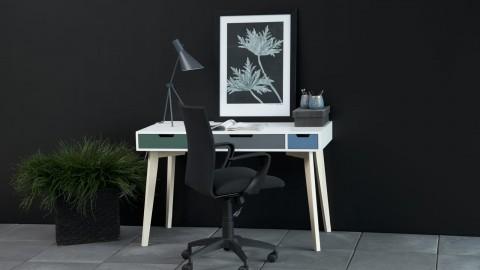 Bureau scandinave blanc 3 tiroirs multicolores - Collection Tess