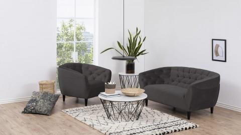 Canapé 2 places capitonné en velours gris foncé - Collection Ria