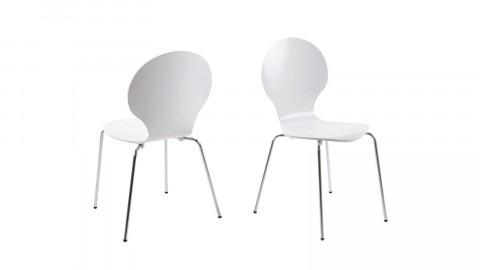 Lot de 2 chaises vintage blanches piètement chromé - Collection Marcus