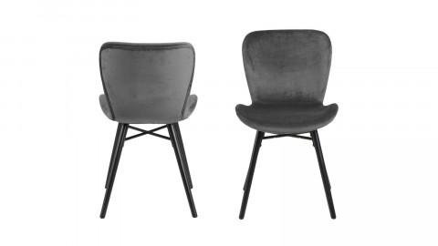 Lot de 2 chaises en velours gris foncé piètement en métal noir - Collection Batilda
