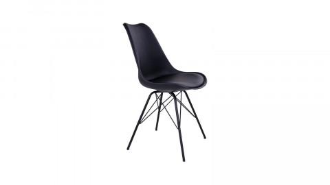 Lot de 2 chaises assise en simili cuir noir piètement noir - Collection Oslo - House Nordic