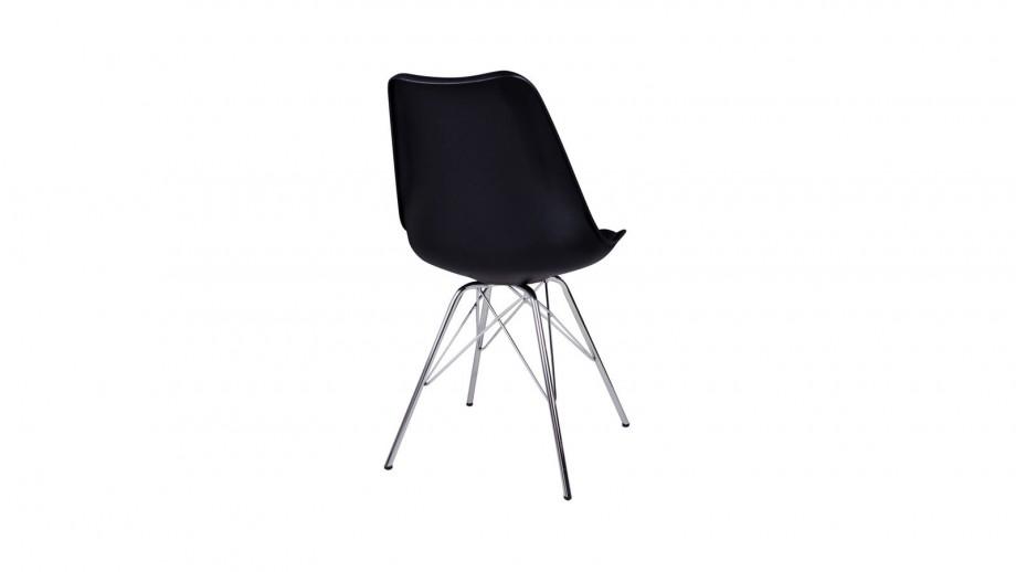 Lot de 2 chaises assise en simili cuir noir piètement chromé - Collection Oslo - House Nordic