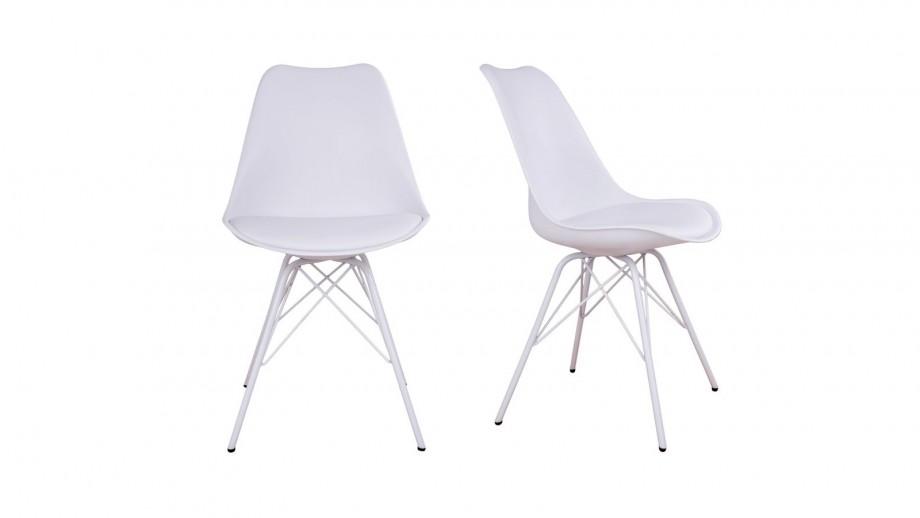 Lot De 2 Chaises Assise En Simili Cuir Blanc Pietement