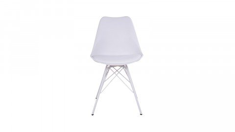 Lot de 2 chaises assise en simili cuir blanc piètement blanc - Collection Oslo - House Nordic