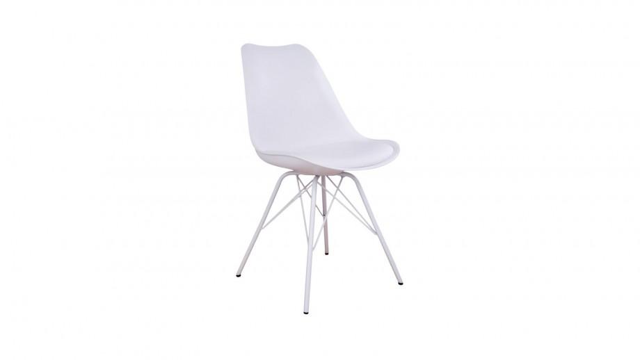 Lot de 2 chaises assise en simili cuir blanc piètement blanc - Collection Oslo - House Nordic