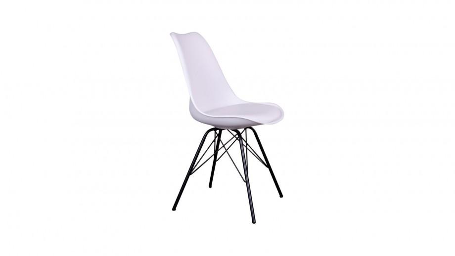 Lot de 2 chaises assise en simili cuir blanc piètement noir - Collection Oslo - House Doctor