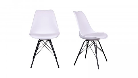 Lot de 2 chaises assise en simili cuir blanc piètement noir - Collection Oslo - House Doctor