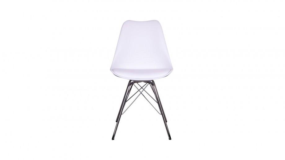 Lot de 2 chaises assise en simili cuir blanc piètement chromé - Collection Oslo - House Nordic