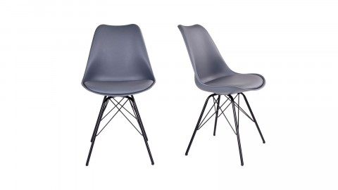 Lot de 2 chaises assise en simili cuir gris piètement noir - Collection Oslo - House Nordic