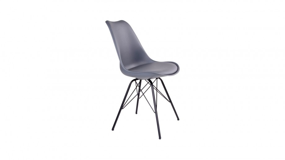 Lot de 2 chaises assise en simili cuir gris piètement noir - Collection Oslo - House Nordic