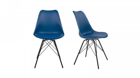 Lot de 2 chaises assise en simili cuir bleu piètement noir - Collection Oslo - House Nordic