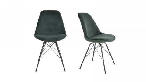 Lot de 2 chaises en velours vert piètement noir - Collection Oslo - House Nordic