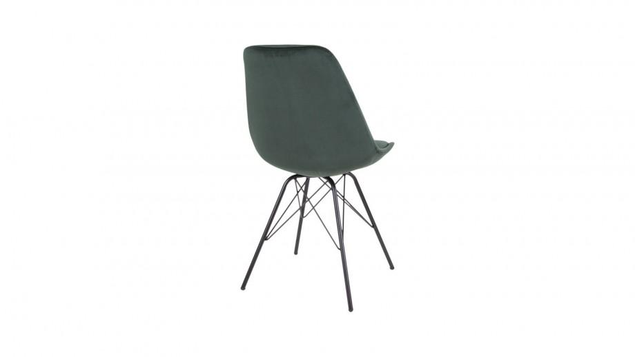 Lot de 2 chaises en velours vert piètement noir - Collection Oslo - House Nordic