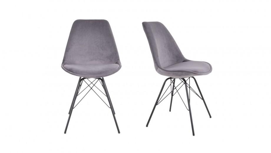 Lot de 2 chaises en velours gris piètement noir - Collection Oslo - House Nordic