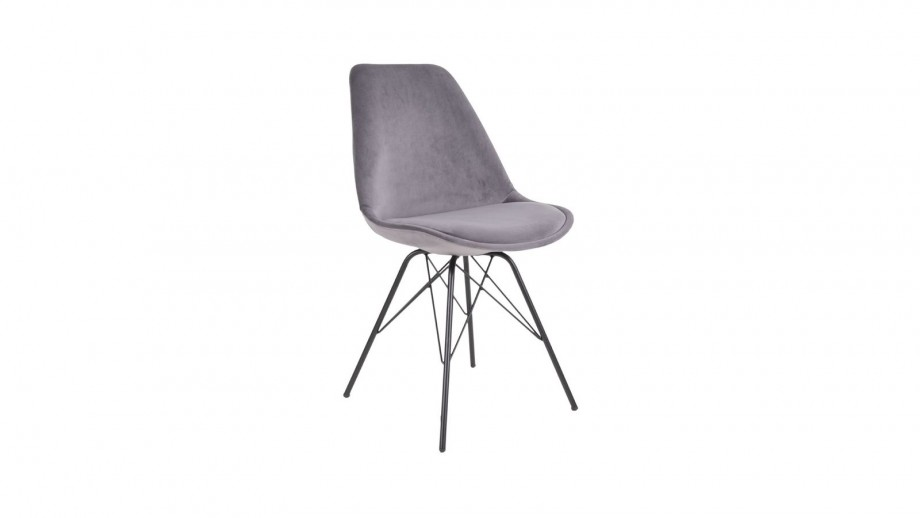 Lot de 2 chaises en velours gris piètement noir - Collection Oslo - House Nordic