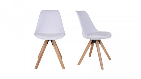 Lot de 2 chaises scandinaves assise blanc piètement en bois naturel - Collection Bergen - House Nordic