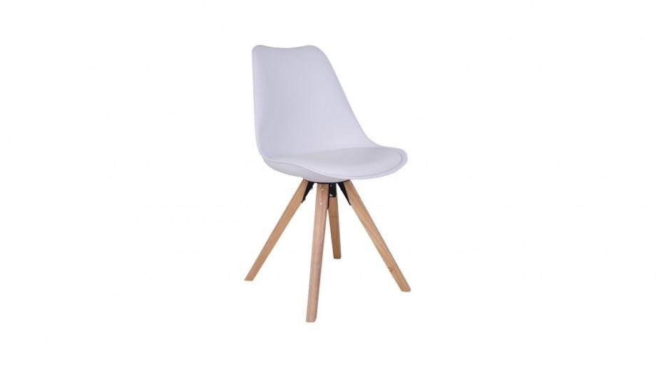 Lot de 2 chaises scandinaves assise blanc piètement en bois naturel - Collection Bergen - House Nordic