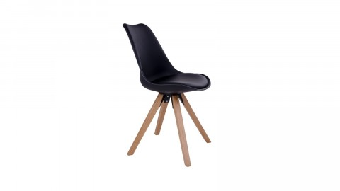 Lot de 2 chaises scandinaves assise noir piètement en bois naturel - Collection Bergen - House Nordic