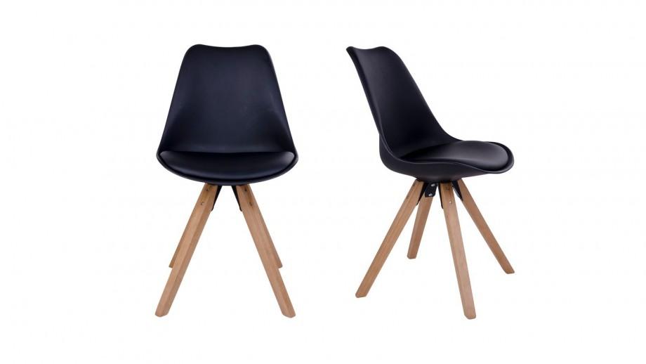 Lot de 2 chaises scandinaves assise noir piètement en bois naturel - Collection Bergen - House Nordic