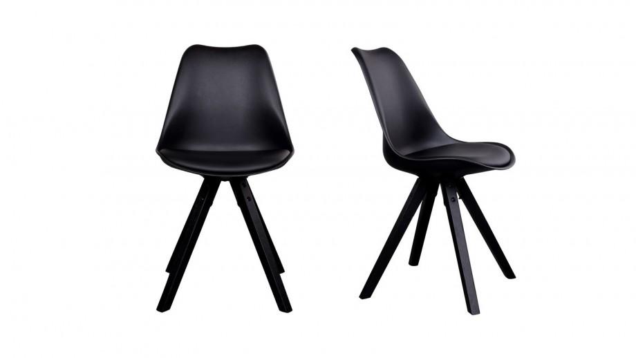 Lot de 2 chaises scandinaves assise noir piètement en bois noir - Collection Bergen - House Nordic