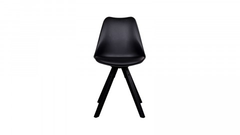 Lot de 2 chaises scandinaves assise noir piètement en bois noir - Collection Bergen - House Nordic
