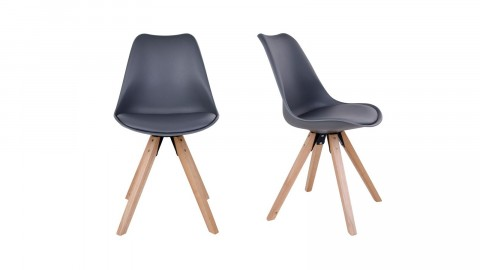 Lot de 2 chaises scandinaves assise gris piètement en bois naturel - Collection Bergen - House Nordic