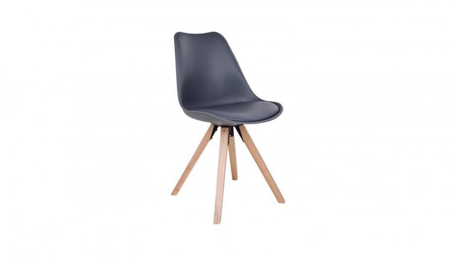 Lot de 2 chaises scandinaves assise gris piètement en bois naturel - Collection Bergen - House Nordic