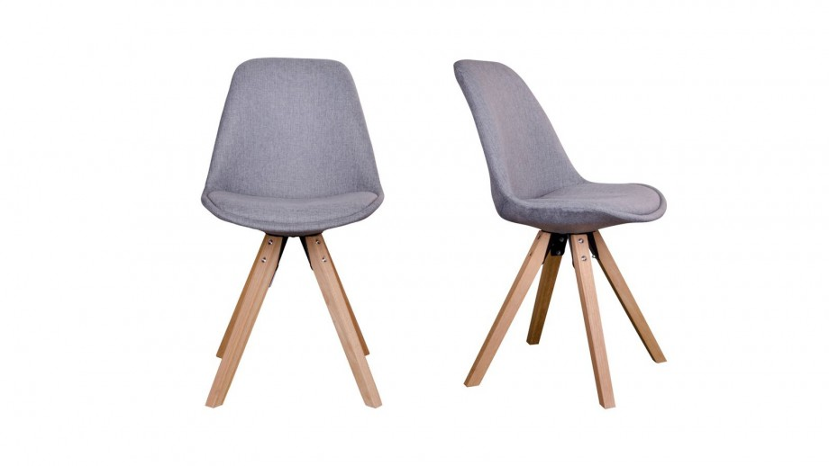 Lot de 2 chaises scandinaves assise en tissu gris piètement en bois naturel - Collection Bergen - House Nordic