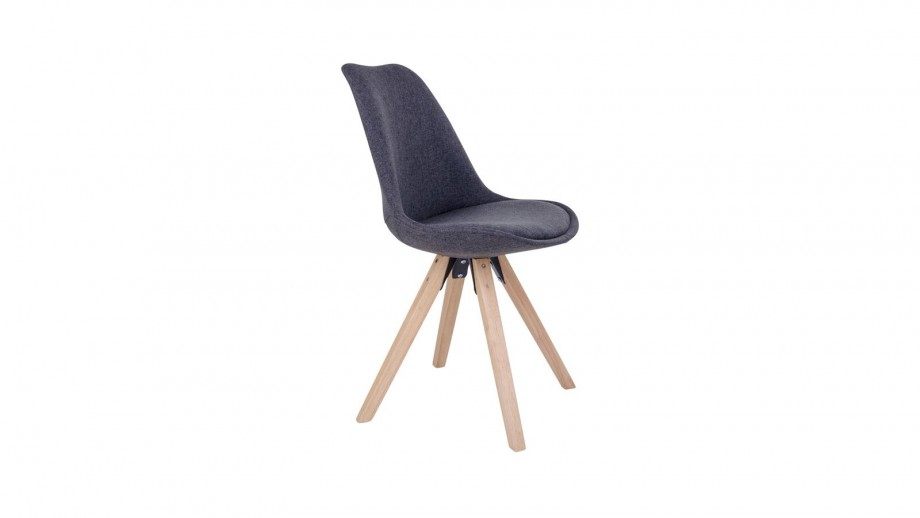 Lot de 2 chaises scandinaves assise en tissu gris anthracite piètement en bois naturel - Collection Bergen - House Nordic