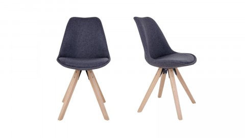 Lot de 2 chaises scandinaves assise en tissu gris anthracite piètement en bois naturel - Collection Bergen - House Nordic
