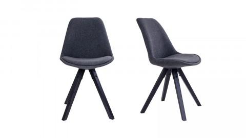Lot de 2 chaises en tissu piètement noir - Collection Bergen - House Nordic