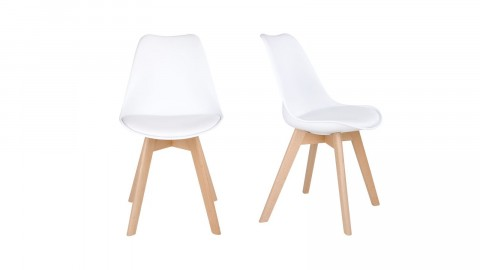 Lot de 2 chaises blanches piètement en bois naturel - Collection Molde - House Nordic