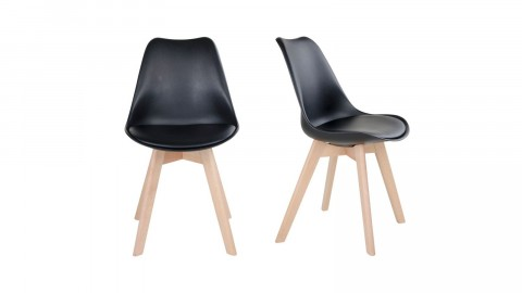 Lot de 2 chaises noires piètement en bois naturel - Collection Molde - House Nordic