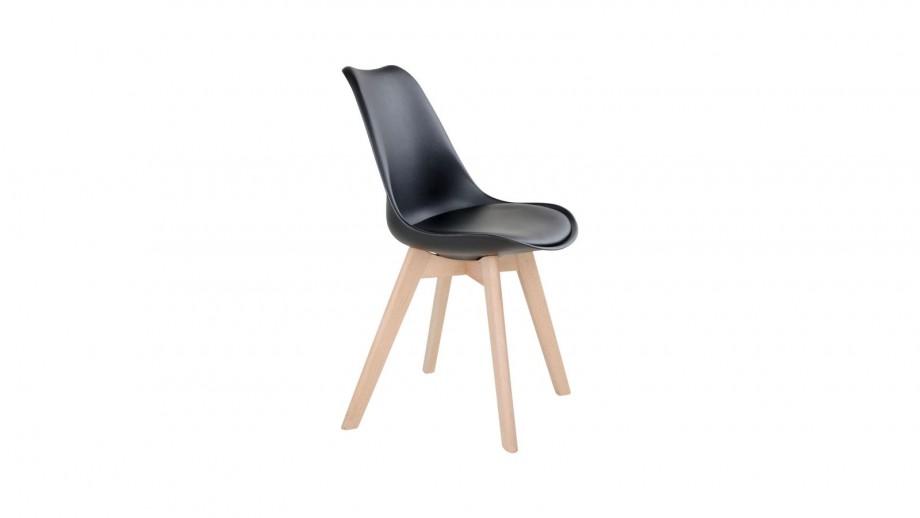 Lot de 2 chaises noires piètement en bois naturel - Collection Molde - House Nordic