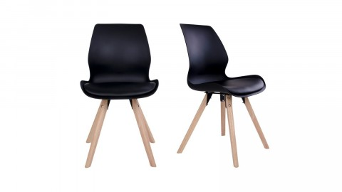 Lot de 2 chaises noires piètement en bois naturel - Collection Rana - House Nordic