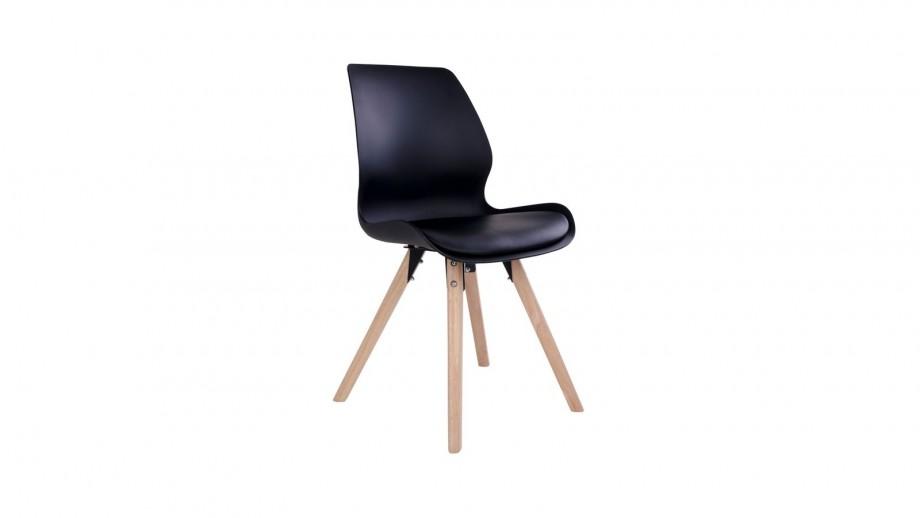 Lot de 2 chaises noires piètement en bois naturel - Collection Rana - House Nordic