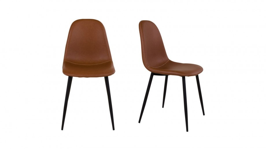 Lot de 2 chaises en simili cuir marron - Collection Stockholm - House Nordic