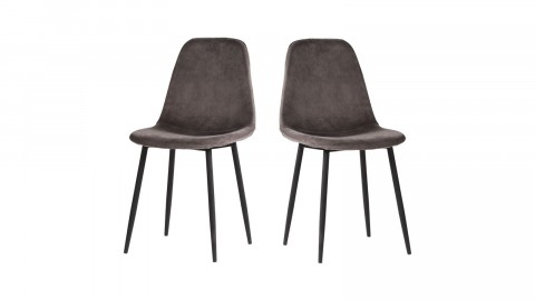 Lot de 2 chaises en velours gris piètement noir - Collection Stockholm - House Nordic