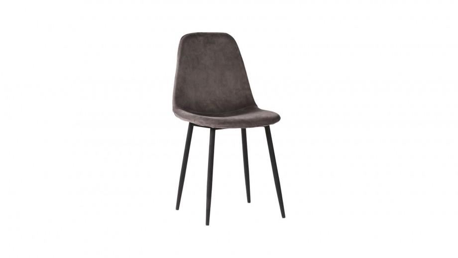 Lot de 2 chaises en velours gris piètement noir - Collection Stockholm - House Nordic