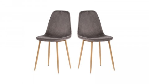 Lot de 2 chaises en velours gris piètement bois - Collection Stockholm - House Nordic