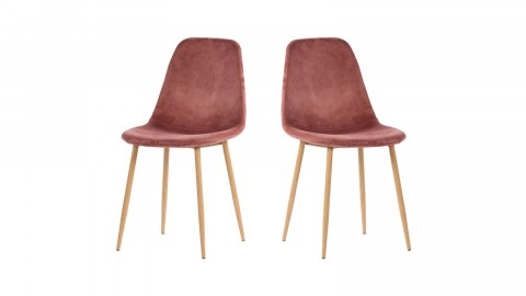 Lot de 2 chaises en velours rose piètement bois - Collection Stockholm - House Nordic