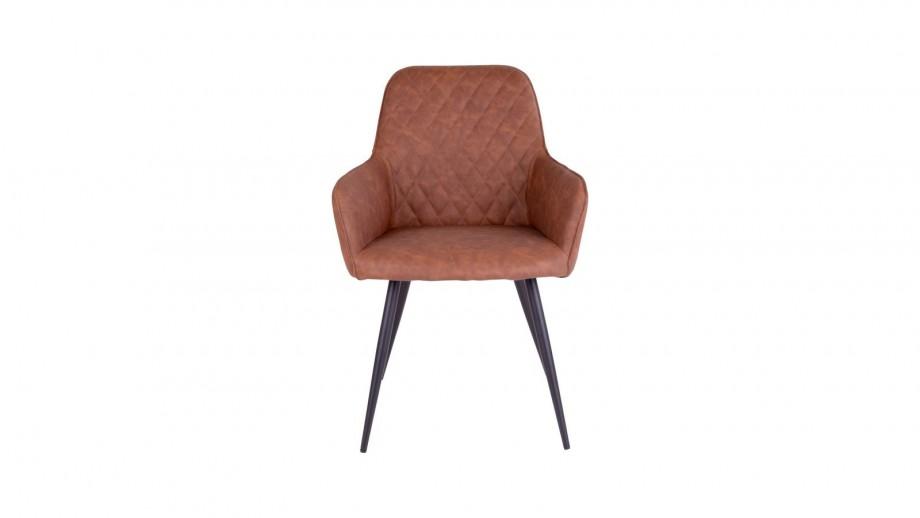 Fauteuil vintage en simili cuir marron - Collection Harbo - House Nordic