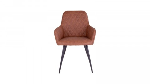 Fauteuil vintage en simili cuir marron - Collection Harbo - House Nordic