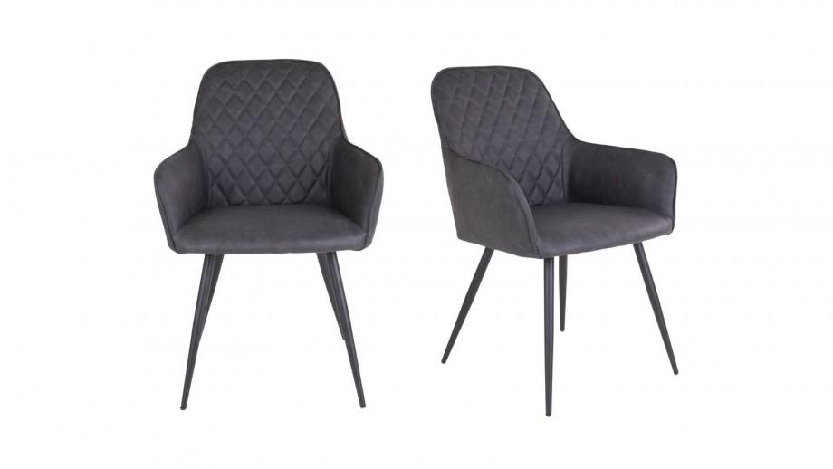 Lot de 2 fauteuil repas en simili cuir gris anthracite - Collection Harbo - House Nordic