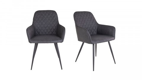 Lot de 2 fauteuil repas en simili cuir gris anthracite - Collection Harbo - House Nordic